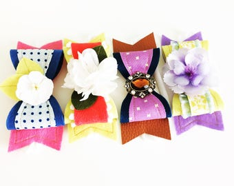 Pack of 4 M2M Made to Match Matilda Jane August Release Make Believe Felt Bow Headband or Clip Set