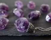 Raw stone necklace Raw crystal necklace Raw amethyst necklace Crystal point necklace Mineral necklace On non tarnish stainless steel chain