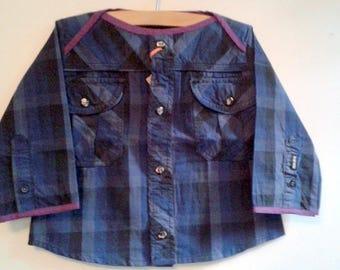 Cotton shirt tile blue, purple boatneck, 12/24 months