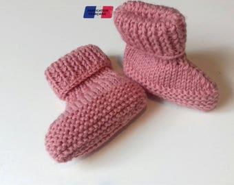 hand knitted slipper rose 8/0 months