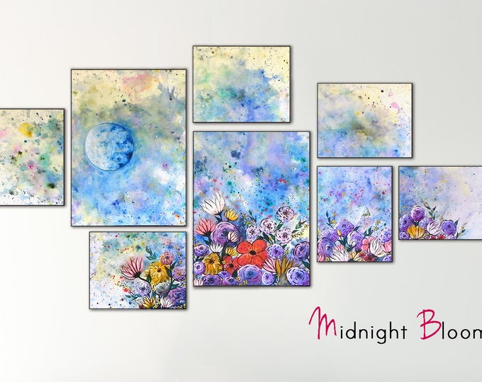 Large Blue Flower Painting Original on Canvas - Night Sky Painting with Full Moon Art - Blue Bedroom Floral Artwork