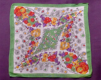 Handkerchief, vintage.  Floral in juicy shades of purples, reds, yellow, greens & black on white, rayon. c1940's.