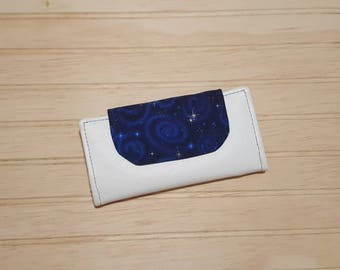 White Vinyl + Cotton Slimline Wallet | high quality fabrics | galaxy print