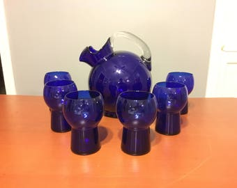 1930s Vintage 1940s Cobalt Blue Glass Art Deco Moderne Tilt Ball Pitcher With 6 Stylized Geometric Glasses Retro Cocktail Or Water Set