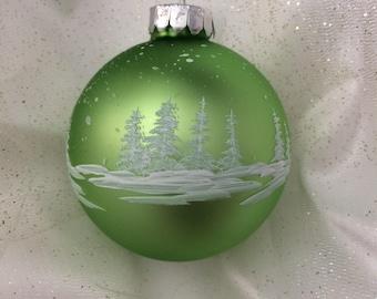 Light Green Handpainted Glass Christmas Ornament