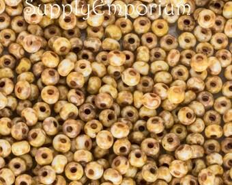 8/0 Czech Glass Chalk White Dark Travertin Seed Beads, 15 Grams, Chalk White Dark Travertin 8/0 Czech Glass Seed Beads, 3509