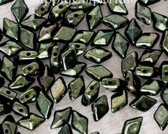 Metallic Green CzechMates Diamonduo Two Hole Beads - 10 Grams -4955- Metallic Green Diamonduo Two Hole Beads, Dark Green Diamonduo