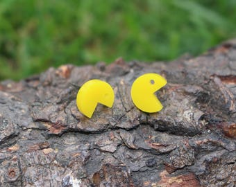 Pac man Earrings, Video Game Stud Earrings, Titanium Earrings, Hypoallergenic Studs