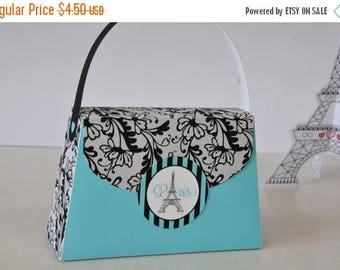 ON SALE NOW Paris Party Purse Favor box in turquoise blue with black lace trim - pdf printable Text Editable bag for spa party, sleepover, b
