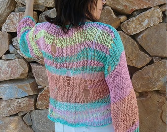 Hand knit sweater knitting womens cloting hand made sweater knitting sweater - made to order cotton sweater