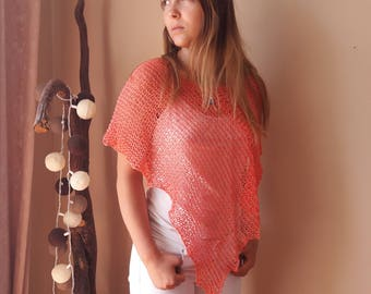 Poncho Hand Knitted Shawl Capelet Shrug Coral Cotton Loose Knit Summer Poncho