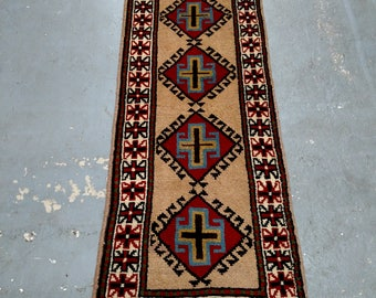 Persian Rug - 1980s Hand-Knotted, Vintage Ghouchan Rug Runner (3683)