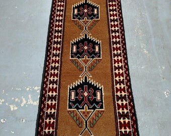 SUMMER CLEARANCE Persian Rug - 1980s Hand-Knotted, Vintage Ghouchan Rug Runner (3682)