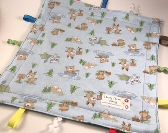 Baby Animal Camping Flannel Fleece Lovey Ribbon Blanket