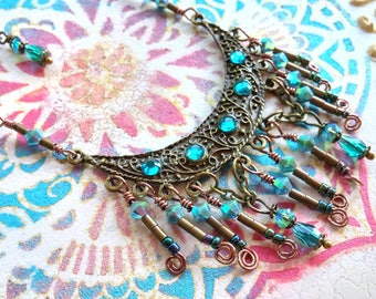 Gypsy Queen Necklace, Crescent Necklace, Crystal Necklace,  Statement Necklace, Fan Necklace, Boho Necklace, Bohemian Jewelry