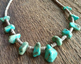 Turquoise Necklace,  Vintage Turquoise, Native Jewelry, Nugget Necklace, Bohemian Jewelry
