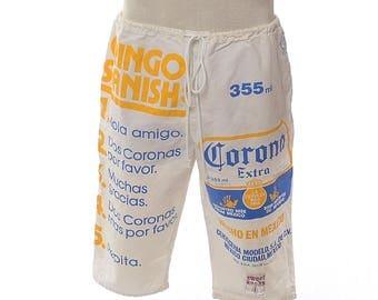 Vintage 80s Corona Beer Sugar Sack Bermuda Shorts 1980s Sweet Sacks Linebacker Cotton Retro Islander Tiki Swim Wear Beach Board Shorts