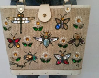 Enid Collins Handbag 'Glitter Bug' Model Vintage Beige Linen and Leather Jeweled Purse 60's Made in Texas Butterflies Fireflies Dragonflies