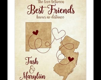 Best Friend Long Distance Map Gifts, Going Away Present Most Popular Gift Ideas Sister Cousin Bestie Quote Turquoise Teal Heart Print Poster