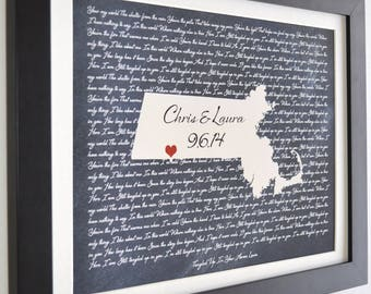 Song lyrics, framed option, personalized map gift state country Wedding Song Lyrics First Dance Shower Anniversary Present Couple Wall Art