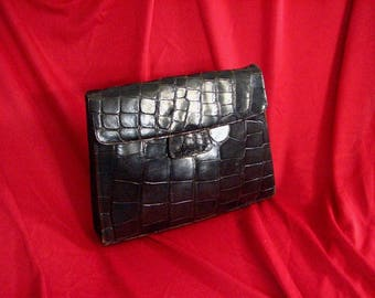 1930s Brown Leather Clutch / Alligator Print