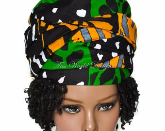 Handmade African hat/ Pullover Headwrap hat/ Ready made African head wear/ Gele Style hat/ South African hats/ African Fabric/  HT243