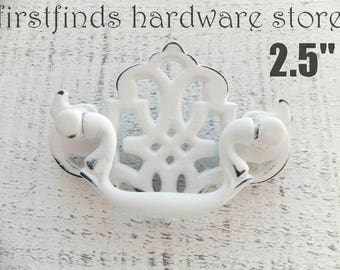 Shabby Chic White Drawer Pull Filigree Chippendale Swing Handle Furniture Metal Dresser Painted Cabinet Hardware Distressed ITEM DETAIL BELO