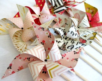 Wedding Decor Paper Pinwheels Wedding Favors Gold Foil Favors Wedding Guest Gifts Table Centerpiece Wedding Decoration Arrows