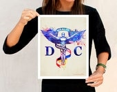 "Watercolor Doctor of Chiropractic,  11"" x 14"", SMT gift, Chiropractic gift, Chiropractic office decor, Spinal Manipulation,Chiropractor logo"