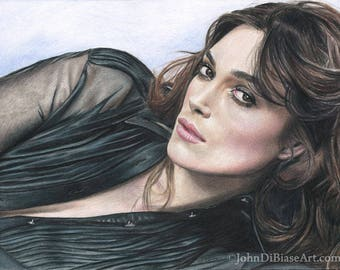 Print of Colored Pencil Drawing of Keira Knightley (8.5 x 11)