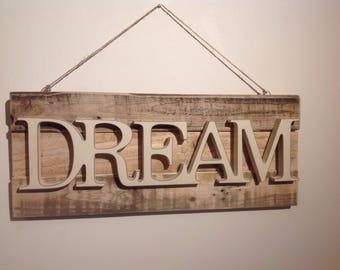 Upcycled wall hanging - DREAM