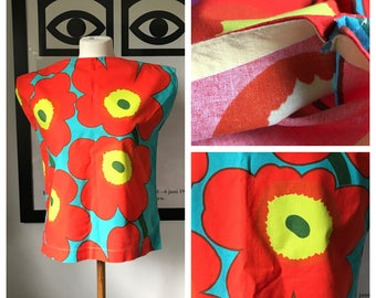 Vintage Marimekko Top / Size Small - Medium / 1980 Finland Custom Made / Unikko Flowers Red Yellow Turquoise
