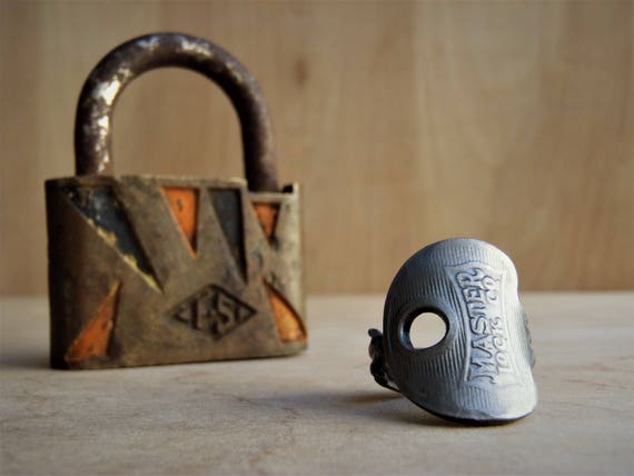 Mid-Century Master Lock Padlock Key RING! - Size 6 - Antique Padlock - Handcrafted - Powder Coated - Repurposed - Upcycled