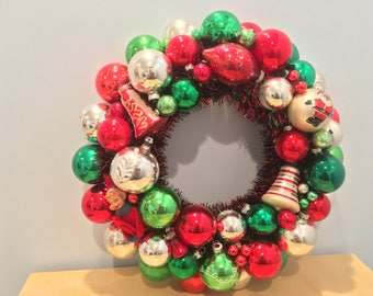 """Vintage """"Red and Green Elf"""" Ornament Wreath"""