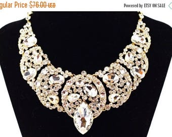 SALE SALE Gold Bridal Necklace, Chunky Crystal Statement Bridal Necklace, Gold Crystal Wedding Necklace, Gold Crystal Evening Necklace - E 8