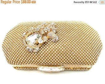 SALE SALE Bridal Clutch, Gold Rhinestone Bridal Clutch, Rhinestone Crystal Wedding Purse, Gold Rhinestone Evening Clutch