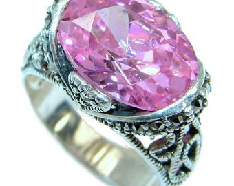 Cubic Zirconia, Marcasite Sterling Silver Ring - weight 7.00g - Size 6 1 4 - dim L- 1 2, W- 5 8, T- 1 4 inch - code 3-sty-18-60