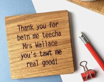 Thank You Teacher Coaster - End of Term Gift - Teacher Thank you Gift - End of Year - Teaching Assistant - Teachers Present - Gift for Teacher