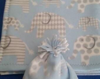 Elephant Baby Blanket and Beanie Set