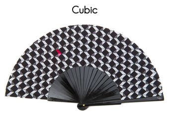 HAND FAN | Geometric black and white design with pink | cubic style | gift for her | gift for mom | Free Shipping Worldwide
