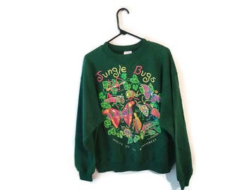 Vintage sweatshirt BUGS 90s Insects Rainforest green size XL