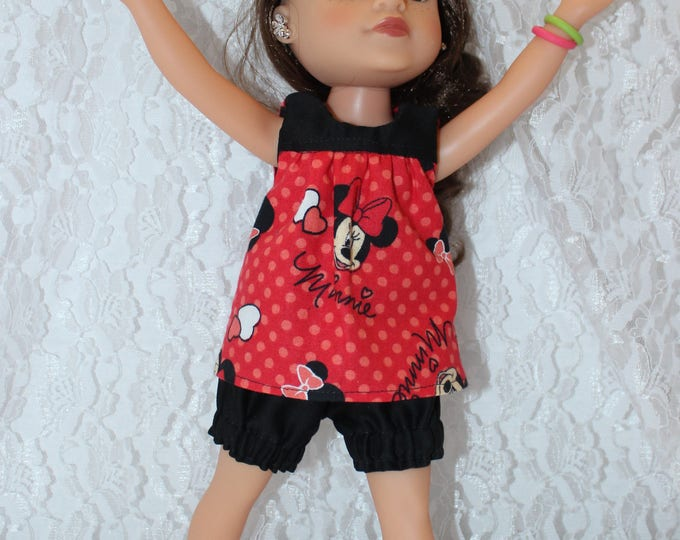 Minnie Mouse Pajama's, Tonic and Bloomers Handmade to fit the wellie wisher and Heart to Heart doll Free Shipping
