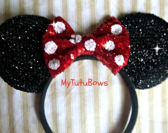 MINNIE MOUSE Ears Headband Ready to Ship Black Shimmering Ears Polka Dot Red and White Choose Own Color Sequin Bows Fits Adults n Children