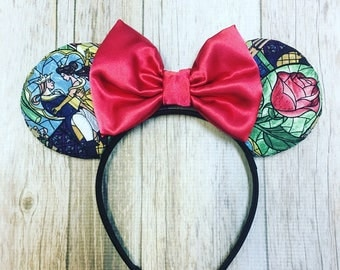 Minnie Mouse Ears Beauty and the Beast Belle Stained Glass Fabric