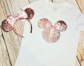 Minnie Mouse Inspired ROSE GOLD Sequin Tee & Ears Set