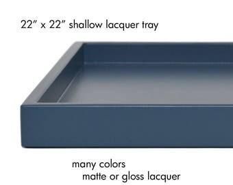 Square Ottoman Tray Low Profile 22 x 22, Coffee Table Tray Decor, Large Ottoman Tray Modern, Coffee Table Decor, Serving Tray