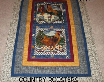 WALL HANGING, QUILT,  Country Decor,  Roosters,  Home Decor,  Cottage Decor,  Kitchen Decor, Dining Décor, Chickens, Rustic, Provencal