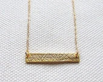 Textured Gold Bar Necklace Simple Modern Necklace Layering Necklace Dainty Minimal 14k Gold Filled Chain