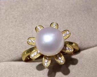 White freshwater pearl and 14k gold fill and zircon flower ring- gold floral pearl ring-