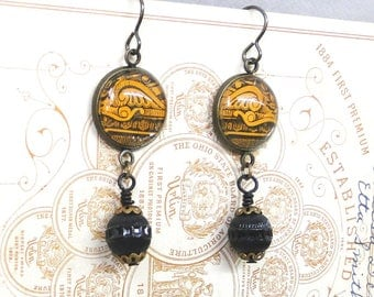 Haunted Earrings Vintage Black and Orange Illustration with 1940s Czech Bead